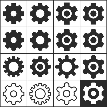 preferences: Set of flat simple web icons (settings, gears, options, preferences), vector illustration Illustration