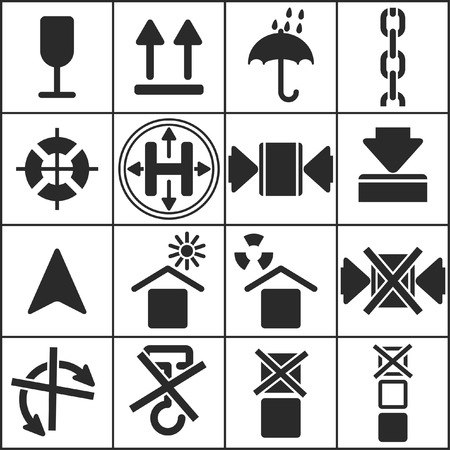 Set of flat simple web icons (logistics, freight, trucking industry, delivery), vector illustration