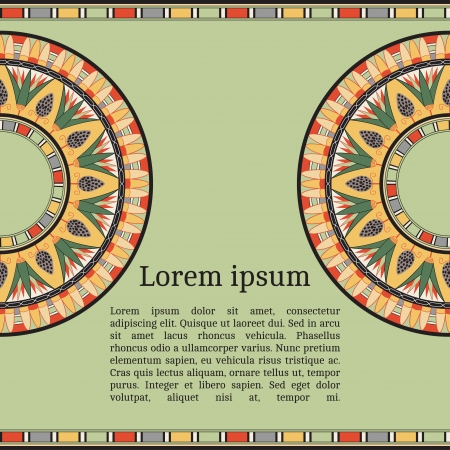 antiquities: Frame template for cards, invitations, banners. You can place any text here. Invitation card with egyptian national pattern, vector
