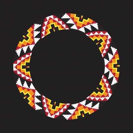 Circle ornament. Round frame, rosette. Native american (indian) round pattern, vector.  イラスト・ベクター素材