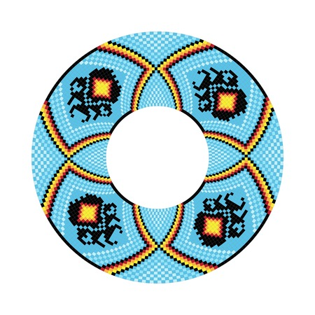 chickasaw: Circle ornament. Round frame, rosette. Native american (indian) round pattern, vector. Illustration