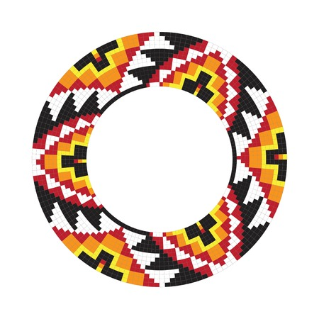 Circle ornament. Round frame, rosette. Native american (indian) round pattern, vector. Vettoriali