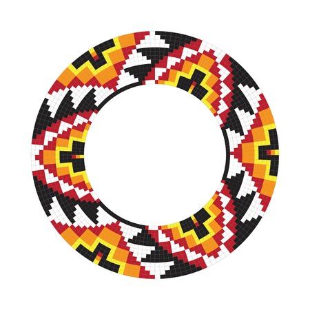 American Indian: Ornamento Circle. Marco redondo, roseta. Nativo americano (indio) modelo redondo, vector.
