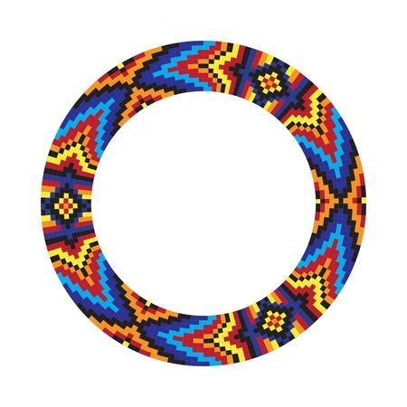 サークルの飾り。ラウンド フレーム、ロゼット。ネイティブ アメリカン (インド) の円形のパターン、ベクトル。