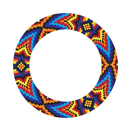 Circle ornament. Round frame, rosette. Native american (indian) round pattern, vector. Ilustração