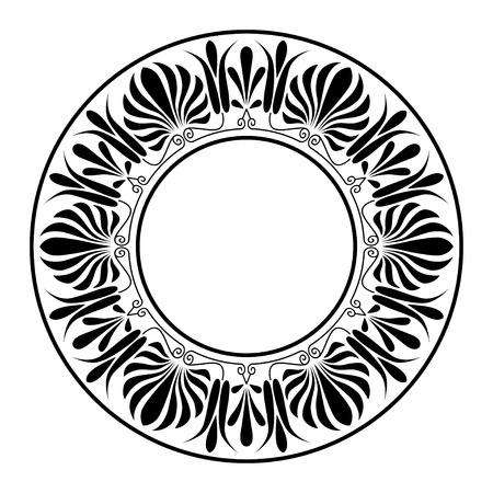 원형 장식. 라운드 프레임, 고대 요소의 장미. 그리스어 국가의 고대 원형 패턴, 벡터. 스톡 콘텐츠 - 24953005