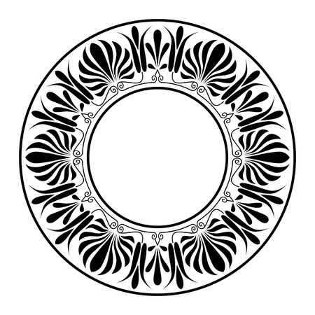 europeans: Circle ornamento. Cornice rotonda, rosetta di elementi antichi. Modello greco nazionale d'antiquariato rotondo, vettore.