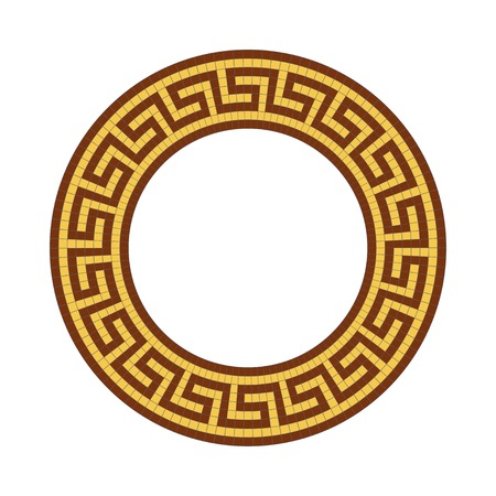 antiquities: Circle ornament. Round frame, rosette of ancient elements. Greek national antique round pattern, vector. Illustration