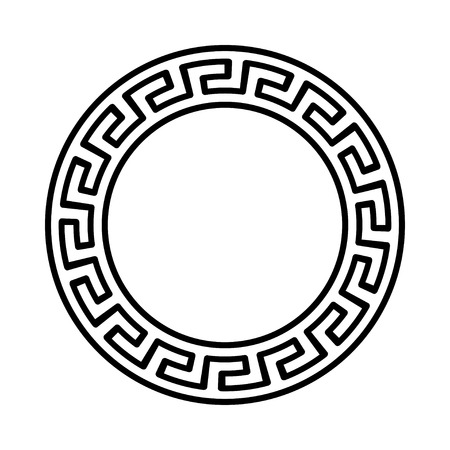 Circle ornament. Round frame, rosette of ancient elements. Greek national antique round pattern, vector. Çizim