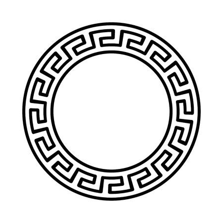Ornament van de cirkel. Rond frame, rozet van oude elementen. Griekse nationale antieke rond patroon, vector. Stock Illustratie