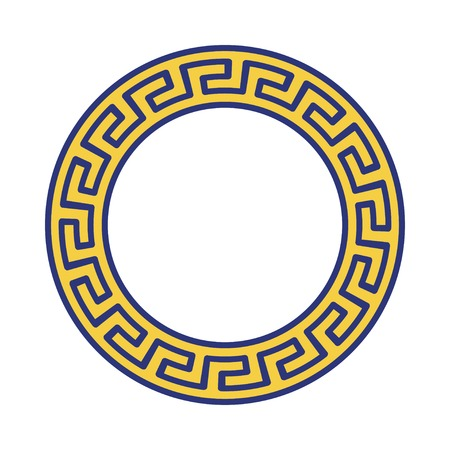 Circle ornament. Round frame, rosette of ancient elements. Greek national antique round pattern, vector.  イラスト・ベクター素材