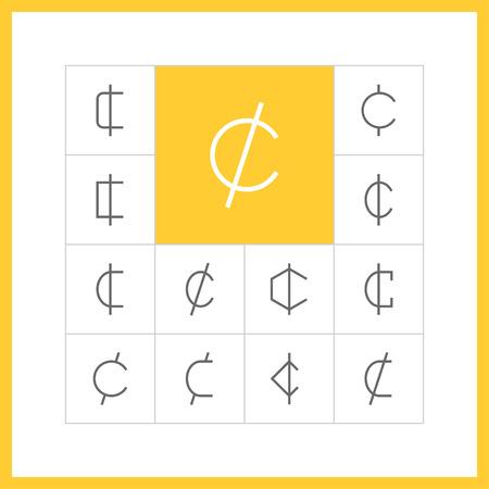 rupee: Set of simple thin line cent icons. Centavo, santim or centas sign, money pictogram, finance button, banking design. Vector illustration Illustration