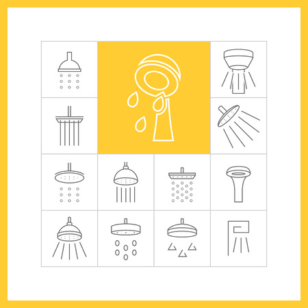 douche: Set of web simple thin line shower icons. Showerheads, douche, vector illustration