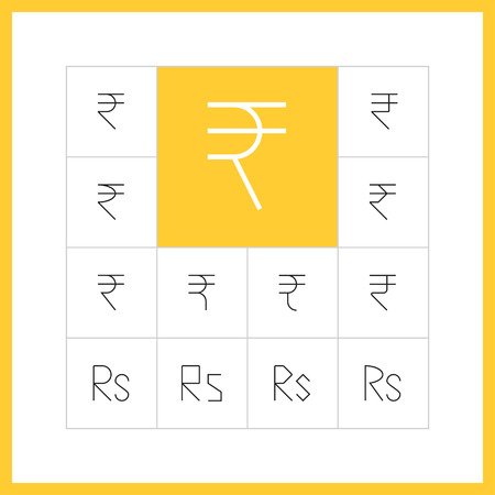 rupee: Set of simple thin line rupee icons. Currency of India sign, money pictogram, finance button, banking design. Vector illustration of rupiya
