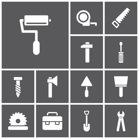 Set of flat simple web icons (tools, construction, building, production, manufacture), vector illustration
