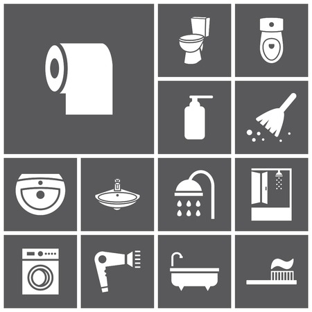 basin: Set of flat simple web icons (bathroom, restroom, WC, toilet), vector illustration