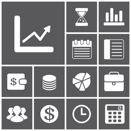 calculator: Set of flat simple icons (business, financial, money, banking), vector illustration