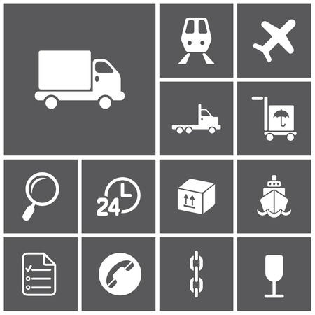 trucking: Set of flat dark simple web icons (logistics, freight, trucking industry, delivery), vector illustration