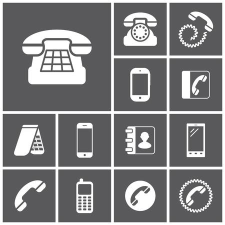 directorio telefonico: Conjunto de iconos simples planos (tel�fono, tel�fono, comunicaci�n), ilustraci�n vectorial