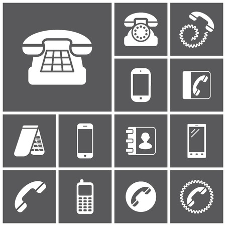 communication icons: Set of flat simple icons (phone, telephone, communication), vector illustration