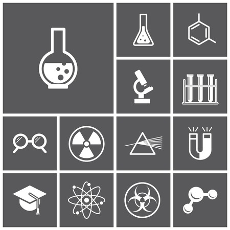 chemistry lab: Set of flat dark icons (science, physics, chemistry), vector illustration