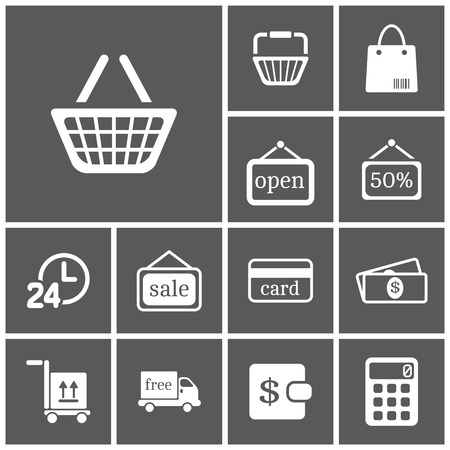 shopping baskets: Set of flat simple web icons (shopping), vector illustration
