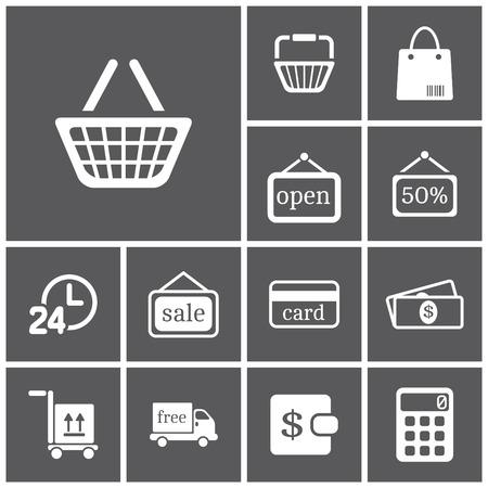 Set van flat eenvoudige web icons (winkelen), vector illustration