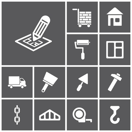 Set of flat simple web icons (construction, building), vector illustration