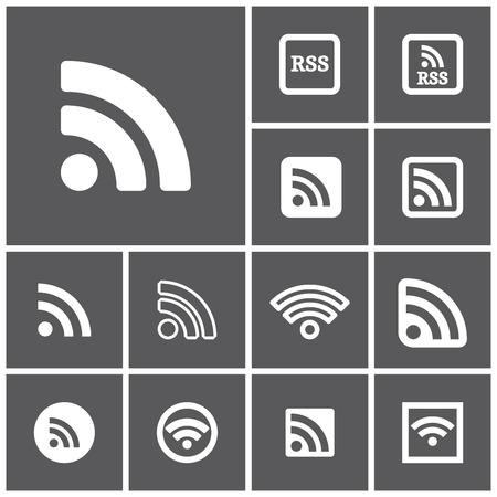 syndication: Conjunto de iconos rss oscuros simples planos, ilustraci�n vectorial Vectores