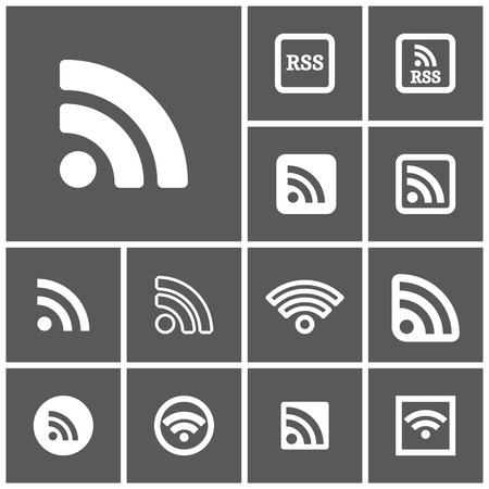 syndication: Set of flat simple dark  rss icons, vector illustration