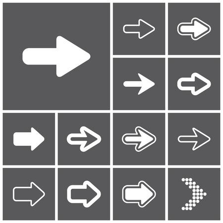 flecha: Conjunto de iconos web sencillas planas (flechas), ilustración vectorial