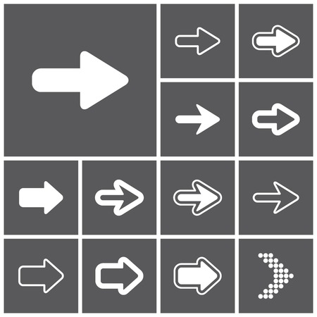 arrow button: Set of flat simple web icons (arrows), vector illustration Illustration
