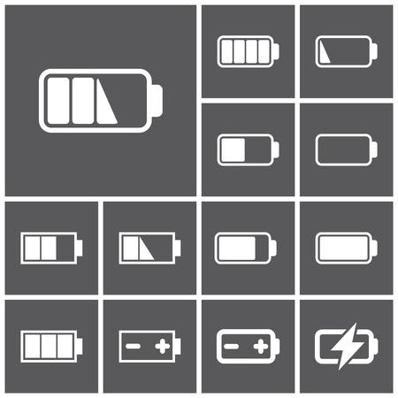 phone icon: Set of flat simple web icons (charge level indicators, batteries, accumulators ), vector illustration Illustration