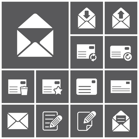 mailing: Set of flat simple web icons (letter, mailing, communacation), vector illustration