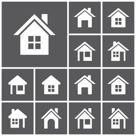 dessin noir et blanc: Ensemble d'ic�nes plats simples web (bouton d'accueil, page d'accueil, maisons, biens immobiliers), illustration vectorielle