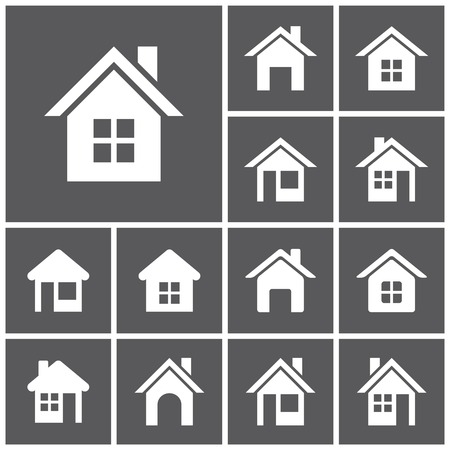 black and white image drawing: Set of flat simple web icons (home button, homepage, houses, real estate ), vector illustration