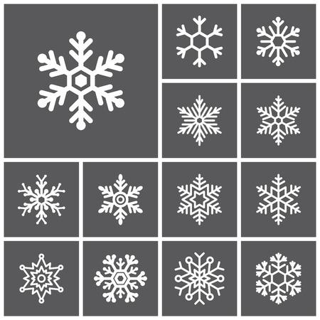 copo de nieve: Conjunto de iconos planos simples Web (copos de nieve de invierno), ilustración vectorial