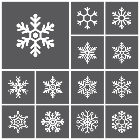 Set of flat simple web icons (winter snowflakes ), vector illustration Çizim