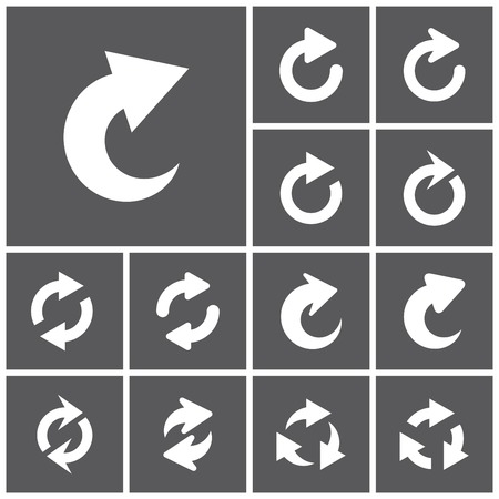 redo: Set of flat simple web icons (repeat, refresh, reload, redo, arrows), vector illustration
