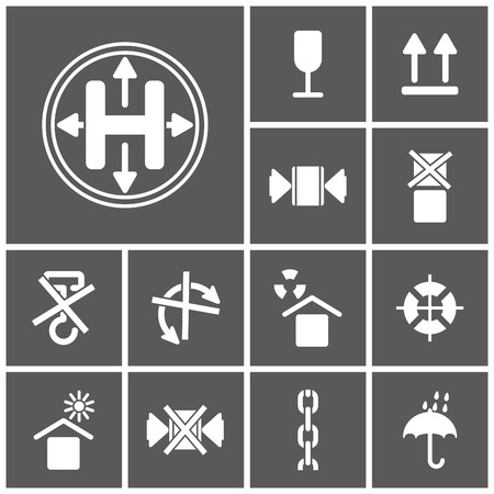 trucking: Set of flat simple web icons (logistics, freight, trucking industry, delivery), vector illustration