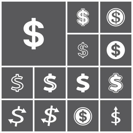 dollaro: Set di piatti semplici icone web (simbolo del dollaro, soldi, finanza, banche), illustrazione vettoriale