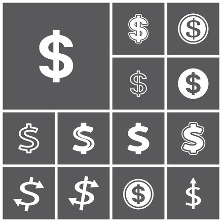 Set of flat simple web icons (dollar sign, money, finance, banking), vector illustration Vettoriali