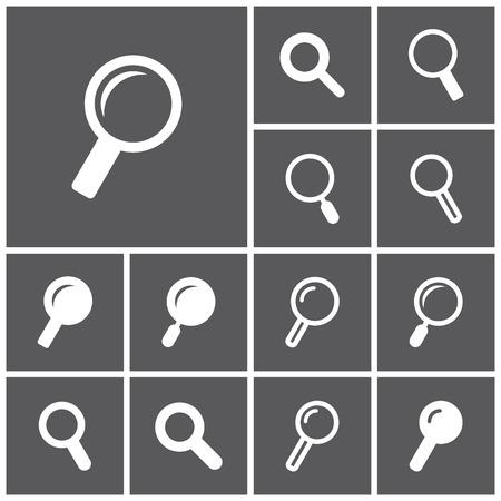 Conjunto de iconos planos simples web (búsqueda, buscar, lente de aumento), ilustración vectorial