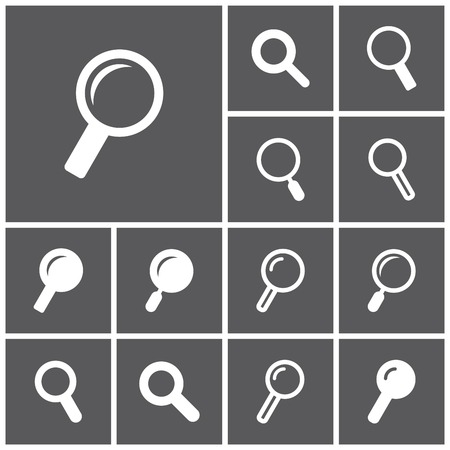 look for: Set of flat simple web icons (search, look for, magnifying lens), vector illustration