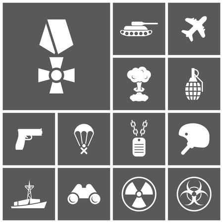 riesgo quimico: Conjunto de iconos planos oscuros simples (militar, ej�rcito, guerra), vector