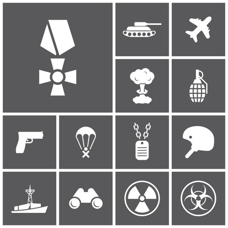 army helmet: Set of flat dark simple icons (military, army, war), vector Illustration