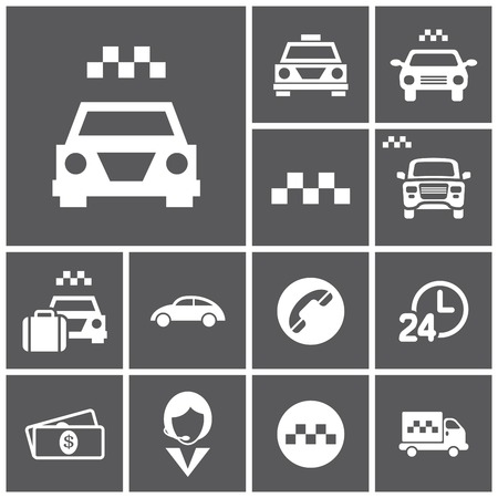 fare: Set of flat simple web icons (taxi, cab, transport, car), vector illustration