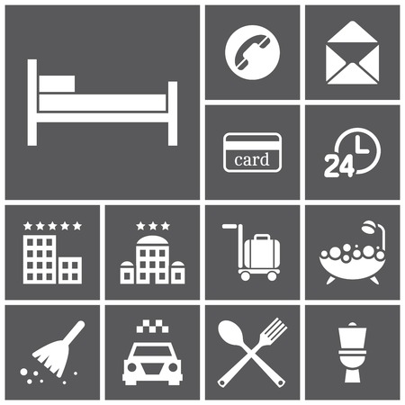 transient: Set of flat simple web icons (hotel, rooming), vector illustration Illustration