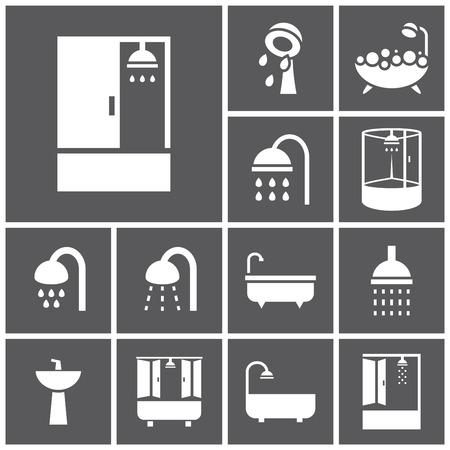 cabine de douche: Ensemble d'ic�nes plats simples web (baignoire, douche, Douche), illustration vectorielle