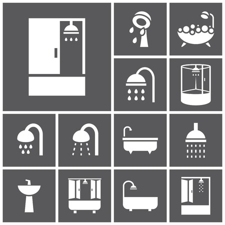 shower cubicle: Set of flat simple web icons (bathtub, shower, douche ), vector illustration